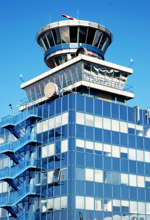 Air traffic control tower in Prague airport Ruzyne  Stock Photo - 18369734