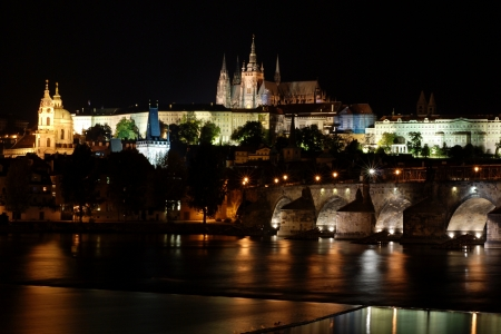 lightsome: Prague Castle and Charles Bridge across the Vltava river at night