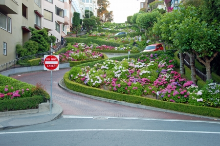 Lombard street in San Francisco, the crookedest street in the world. Stock Photo