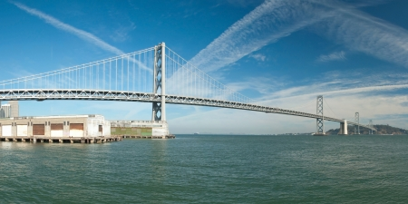 Suspension Oakland Bay Bridge in San Francisco to Yerba Buena Island with downtown photo