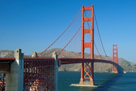The Golden Gate Bridge in San Francisco during the sunny day with beautiful azure ocean in background Stock Photo - 18386461