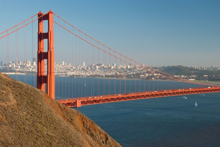The Golden Gate Bridge in San Francisco during the sunset with beautiful azure ocean in background Stock Photo - 18386431