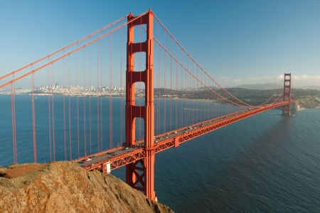 The Golden Gate Bridge in San Francisco during the sunset with beautiful azure ocean in background Stock Photo - 18386462