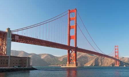 The Golden Gate Bridge in San Francisco during the sunset with beautiful azure ocean in background panorama photo