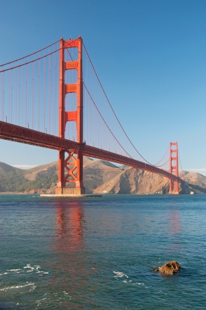 The Golden Gate Bridge in San Francisco during the sunset with beautiful azure ocean in background Stock Photo - 18386443
