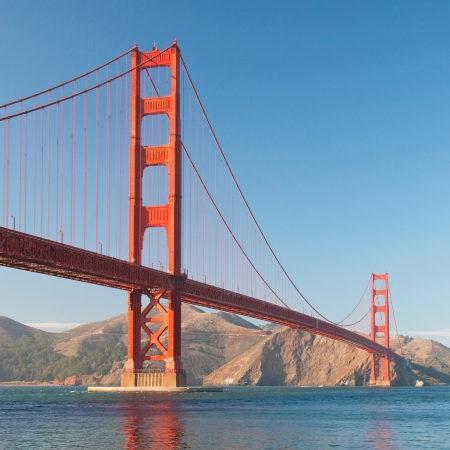 The Golden Gate Bridge in San Francisco during the sunset with beautiful azure ocean in background Stock Photo - 18386451