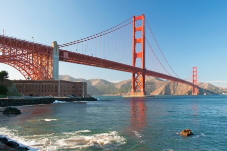 The Golden Gate Bridge in San Francisco during the sunset with beautiful azure ocean in background Stock Photo - 18386436