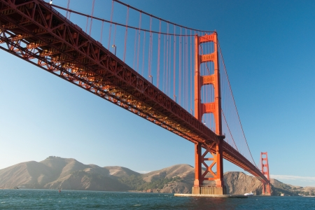 sky bridge: The Golden Gate Bridge in San Francisco during the sunset with beautiful azure ocean in background