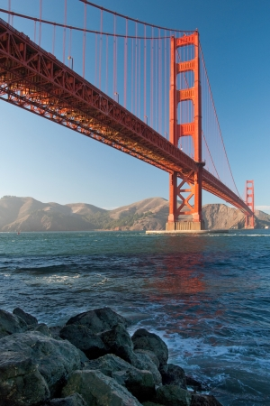 The Golden Gate Bridge in San Francisco during the sunset with beautiful azure ocean in background Stock Photo - 18386432
