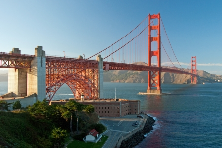 The Golden Gate Bridge in San Francisco during the sunset with beautiful azure ocean in background Stock Photo - 18386439