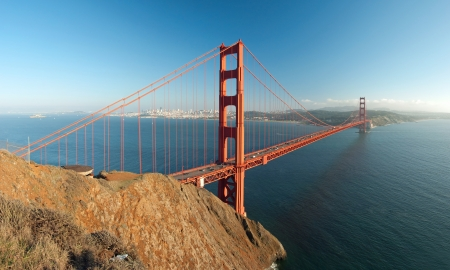 The Golden Gate Bridge in San Francisco during the sunset with beautiful azure ocean in background panorama Stock Photo - 18386370