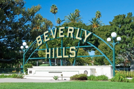 Beverly Hills sign in Los Angeles park with beautiful blue sky in background Stock Photo - 18386383