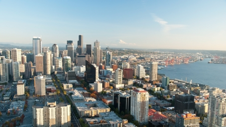 seattle skyline: Seattle downtown skyline with view of Mt Rainier in distance panorama Stock Photo