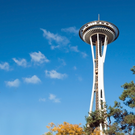 SEATTLE - OCTOBER 26, 2011: Space Needle in Seattle on October 26, 2011 in Seattle, USA. The Space Needle was built in 1962 and is a symbol of that year Stock Photo - 18369213