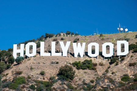 HOLLYWOOD, CALIFORNIA - OCTOBER 8, 2011 - Hollywood sign on Santa Monica mountains in Los Angeles October 8, 2011 in Los Angeles, USA. It was originally created as an advertisement for local real estate development in 1923. Editorial