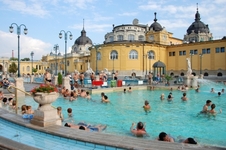 hungary: BUDAPEST - CIRCA SEPTEMBER 2009: People have a thermal bath in the Szechenyi spa circa September 2009 in Budapest. Szechenyi Medicinal Bath is the largest medicinal bath in Europe.