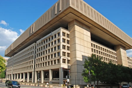 fidelity: WASH DC - CIRCA JULY 2009: FBI building circa July 2009 in Wash DC, USA. Established in 1908 with motto Fidelity, Bravery, Integrity. To public until further notice.