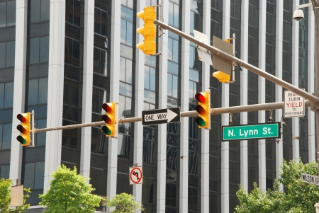 semaphore: View of american business street with traffic lights Stock Photo