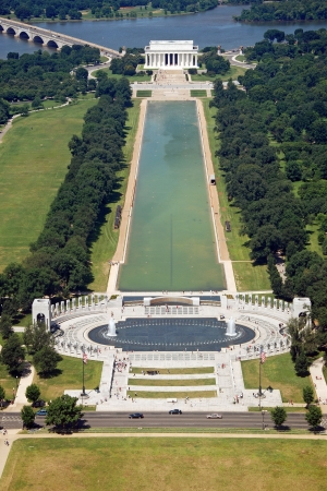 Aerial view of Lincoln memorial in Washington DC from Washington monument photo