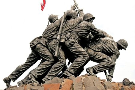 world war two: WASH DC - CIRCA JULY 2009: Iwo Jima Memorial circa July 2009 in Wash DC, USA. Memorial dedicated to all personnel of United States Marine Corps who have died in defense of their country since 1775.