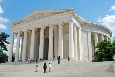 WASH DC - CIRCA JUNE 09: Outdoor view of Jefferson Memorial with tourists circa June 09 in Washington DC, USA. On the walls of the memorial are Jefferson�s words from the Declaration of Independence.