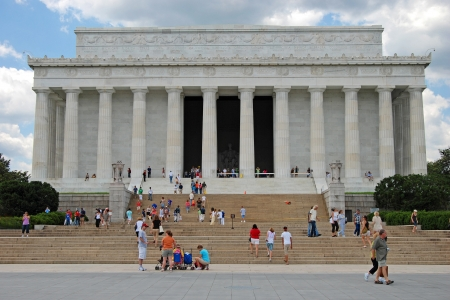 WASHINGTON DC - CIRCA JULY 2009: Lincoln Memorial dedicated to president Abraham Lincoln who helped to bring the end of slavery in United States circa July 2009 in Washington DC, USA.