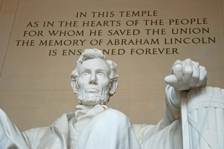 Abraham Lincoln statue in the Lincoln Memorial in Washington DC