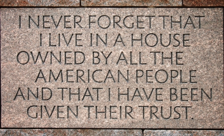 hard times: Quotation in the Franklin Delano Roosevelt Memorial in Washington DC Editorial
