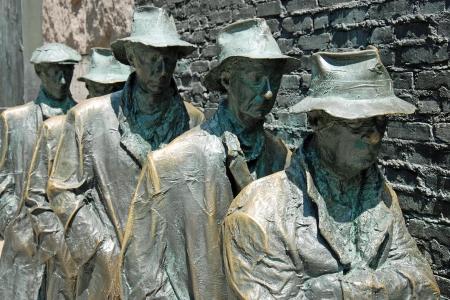 delano: Outdoor view of Hunger sculpture of Franklin Delano Roosevelt Memorial in Washington DC