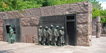 hard times: Outdoor view of Hunger sculpture of Franklin Delano Roosevelt Memorial in Washington DC panorama Stock Photo