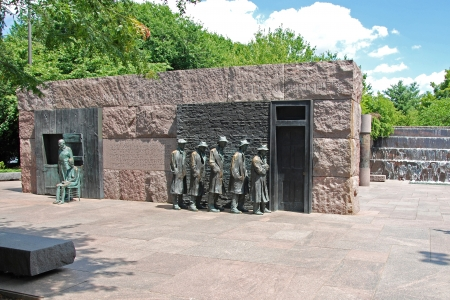 hard times: WASH DC - CIRCA JUNE 09  Franklin Delano Roosevelt Memorial circa June 09 in Washington DC, USA  Dedicated on May 2, 1997 by President Bill Clinton, monument, spread over 7,5 acres traces 12 years of the history of the United States  Editorial