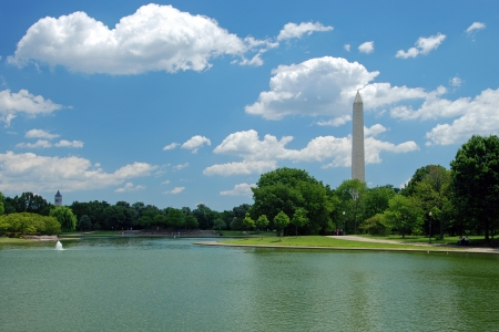 national monuments: Outdoor view of Washington Monument in Washington DC with beautiful blue sky in background