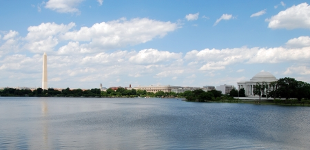 Panoramic view of Washington Monument and Jefferson Memorial in Washington DC