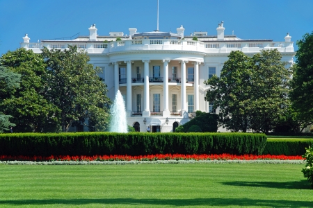 monument historical monument: The White House in Washington DC with beautiful blue sky