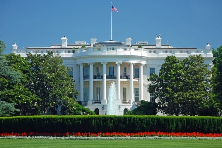 washington landscape: The White House in Washington DC with beautiful blue sky