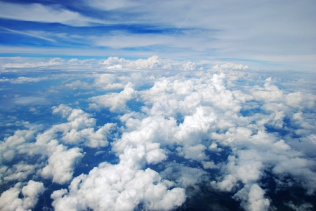 Aerial view of peaceful earth covered in clouds photo
