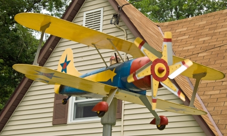 monoplane: Planes house decoration in the garden Stock Photo