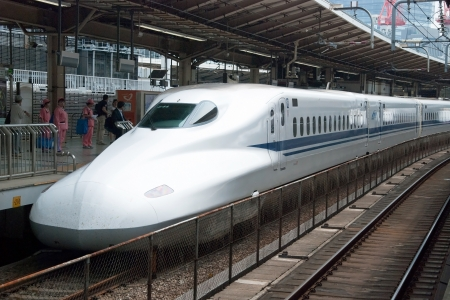 Tokyo, Japan - May 17, 2012: Shinkansen bullet train at Tokyo main railway station in May17, 2012 Tokyo, Japan.Shinkansen is worlds busiest high-speed railway operated by four Japan Railways group companies.