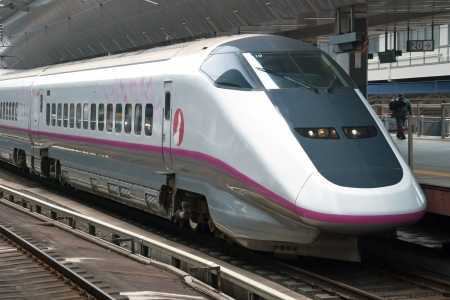 Tokyo, Japan – May 17, 2012: Shinkansen bullet train at Tokyo main railway station in May 2012 Tokyo, Japan.The Shinkansen is the worlds busiest high-speed railway operated by four Japan Railways group companies. Editorial