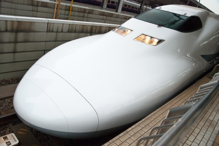 Tokyo, Japan – May 20, 2012: Shinkansen bullet train at Tokyo main railway station in May 2012 Tokyo, Japan.The Shinkansen is the worlds busiest high-speed railway operated by four Japan Railways group companies.