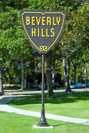 hollywood hills: Beverly Hills sign in Los Angeles close-up view. Editorial