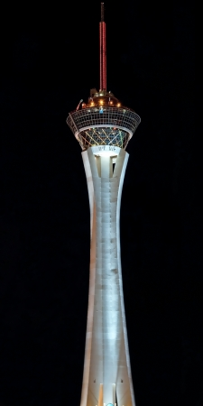 stratosphere: LAS VEGAS - SEPTEMBER 28, 2011 - Stratosphere Casino Hotel Tower on the Las Vegas Strip at night on September 28, 2011 in Las Vegas, USA. Tower is the tallest observation tower in the United States.