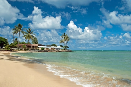 Luxury house on untouched sandy beach with palms trees and azure ocean in background Stock Photo