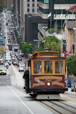 SAN FRANCISCO - OCTOBER 20, 2011: Cable car tram October 20, 2011 in San Francisco, USA. The San Francisco cable car system is world last permanently operational manually operated cable car system.