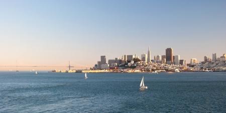 San Francisco downtown skyline from Alcatraz island photo