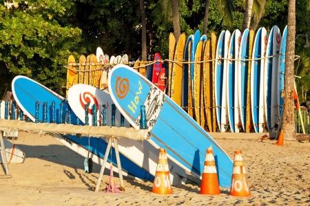 HONOLULU, HAWAII – SEPTEMBER 24, 2011 – Surf rental shop on Waikiki beach on September 24, 2011 in Honolulu, Hawaii  Waikiki beach is beachfront neighborhood of Honolulu, best known for white sand and surfing  Editorial