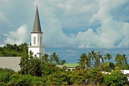 big island: Mokuaikaua church in Kona on Big Island of Hawaii Stock Photo