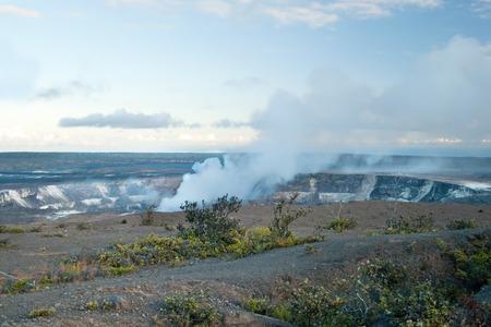 Smoking Crater of  Halemaumau Kilauea Volcano in Hawaii Volcanoes National Park on Big Island photo