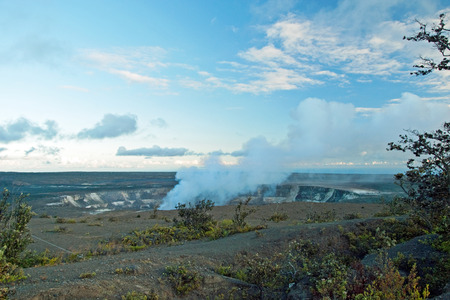 Smoking Crater of Halemaumau Kilauea Volcano in Hawaii Volcanoes National Park on Big Island photo