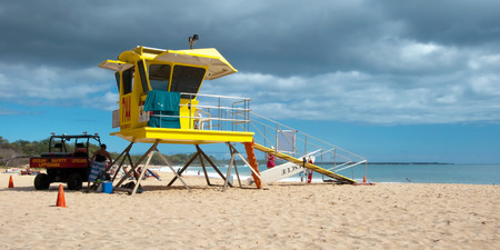 MAUI, HAWAII - SEPTEMBER 12, 2011 - Lifeguard tower on Big beach on September 12, 2011 in Maui, Hawaii  Lifeguard towers are used to watch swimmers in order to prevent drownings and other dangers